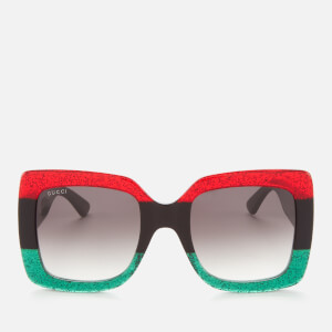 Gucci Women's Stripe Square Acetate Sunglasses - Red/Black/Grey
