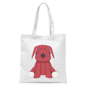 Red Polka Dot Dog Teddy Tote Bag - White