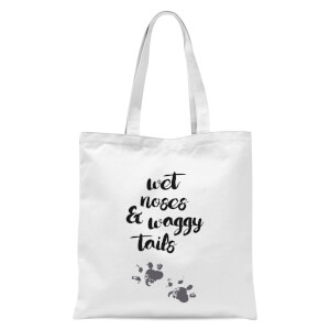 Wet Noses And Waggy Tails Paw Prints Tote Bag - White