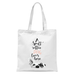 A Spoilt Rotten Dog Lives Here Jack Russell Tote Bag - White