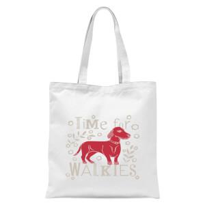 Time For Walkies Cutout Sausage Dog Tote Bag - White