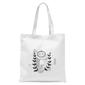 Line Art Owl Tote Bag - White