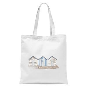 Wooden Beach Hut Tote Bag - White
