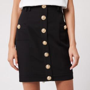 Balmain Women's Short Buttoned Grain De Poudre Skirt - Black