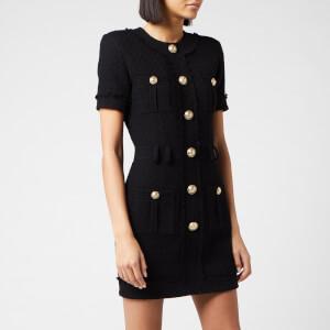 Balmain Women's Short Sleeve Buttoned Tweed Dress - Black