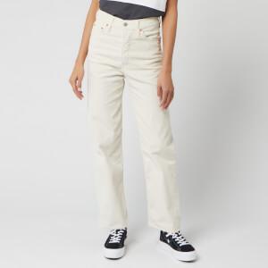 Levi's Women's Ribcage Straight Ankle Corduroy Jeans - Ecru Wide Wale