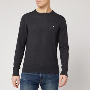 Tommy Hilfiger Men's Luxury Touch Knitted Crew Neck Jumper - Charcoal Heather