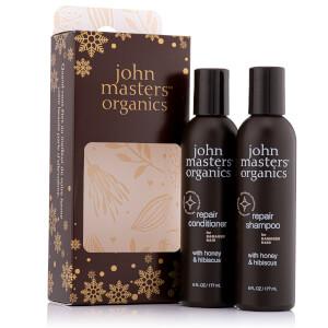John Masters Organics Festive Gift Set Shampoo and Conditioner to Repair Dry & Damaged Hair (Worth £58.00)
