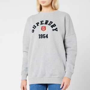 Superdry Women's Varsity Os Crew Neck Sweatshirt - Spirit Grey Marl