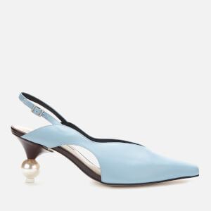 Yuul Yie Women's Doreen Leather Sling Back Court Shoes - Smoky Blue/Dark Brown