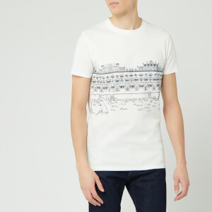 Lanvin Men's Babar Beach Huts Print Short Sleeve T-Shirt - White