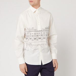 Lanvin Men's Straight Shirt Babar Beach Huts Print - Black/White