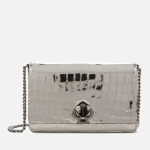 Kate Spade New York Women's Romy Metallic Croc Chain Wallet - Gunmetal