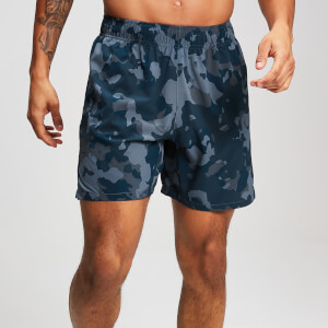 MP Training Heren Stretch Geweven Shorts - Washed Blue-Camo