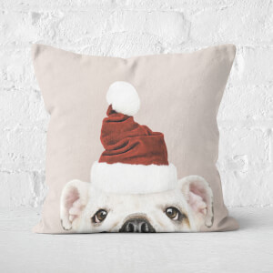 Christmas Bulldog Square Cushion