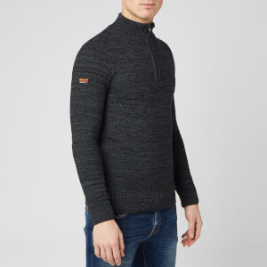 Superdry Men's Keystone Henley Knit Jumper - Lead Grey Twist