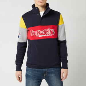 Superdry Men's Colour Block Half Zip Track Top - Darkest Navy