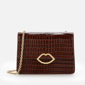 Lulu Guinness Women's Cut Out Lip Croc Polly Shoulder Bag - Chocolate