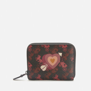 Coach 1941 Women's Coated Canvas Heart Small Zip Around Purse - Black/Oxblood