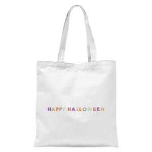 Colourful Happy Halloween Tote Bag - White