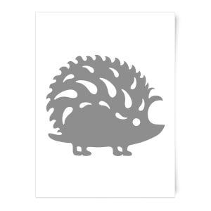 Folk Silhouette Hedge Hog Cutout Art Print
