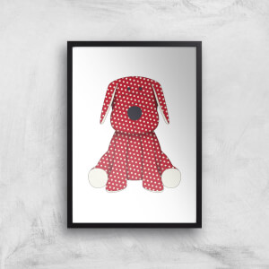 Red Polka Dot Dog Teddy Art Print