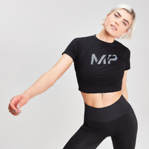 MP Snake Logo Crop T-Shirt - Schwarz