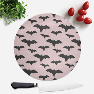 Black And Pink Bat Pattern Round Chopping Board