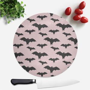 Black And Pink Bat Pattern Round Chopping Board