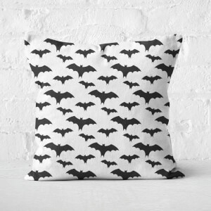 Black And White Bat Pattern Square Cushion