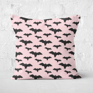 Black And Pink Bat Pattern Square Cushion