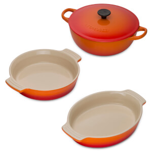 Le Creuset Signature Cast Iron and Stoneware 3 Piece Dish Set - Volcanic