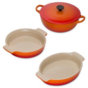 Le Creuset Classic Cast Iron and Stoneware 3 Piece Dish Set - Volcanic