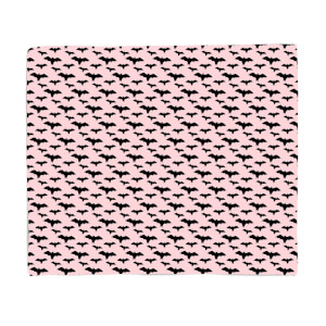 Black And Pink Bat Pattern Fleece Blanket