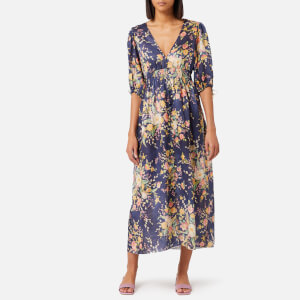 Zimmermann Women's Zinnia Shirred Waist Dress - Cobalt Floral