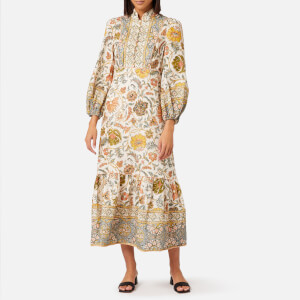 Zimmermann Women's Edie Border High Neck Dress - Cream Paisley
