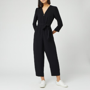 Whistles Women's Hallie Zip Front Crepe Jumpsuit - Black