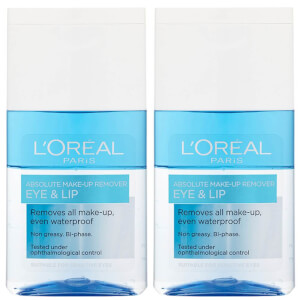 L'Oréal Paris Absolute Make-Up Remover Eye and Lip 125ml 2 Pack Exclusive (Worth £11.98)