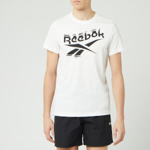 Reebok Men's Branded Crew Neck Short Sleeve T-Shirt - White