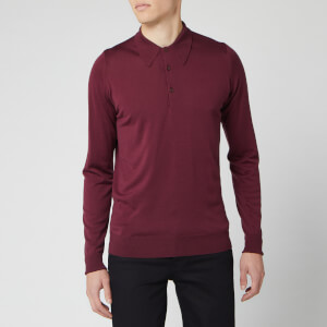 John Smedley Men's Dorset 30 Gauge Merino Long Sleeve Polo Shirt - Bordeaux