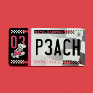 Mario Kart Peach Limited Edition Metal Number Plate