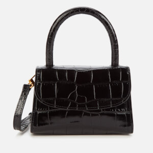 by FAR Women's Mini Croco Top Handle Bag - Black