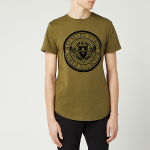 Balmain Men's Coin T-Shirt - Khaki