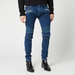 Balmain Men's Ribbed Slim Jeans Monogram Embossed Stone - Bleu