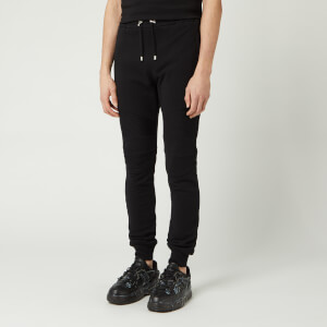 Balmain Men's Ribbed Back Flock Sweatpants - Noir