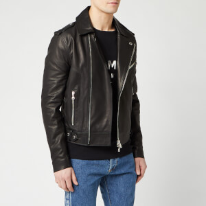 Balmain Men's Stamp Leather Perfecto Jacket - Noir