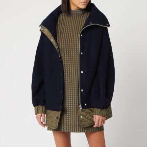 Ganni Women's Tech/Wool Cocoon Jacket - Sky Captain