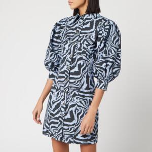 Ganni Women's Printed Cotton Poplin Zebra Shirt Dress - Forever Blue