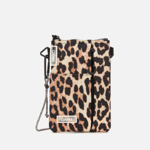 Ganni Women's Tech Fabric Cross Body Bag - Leopard Print