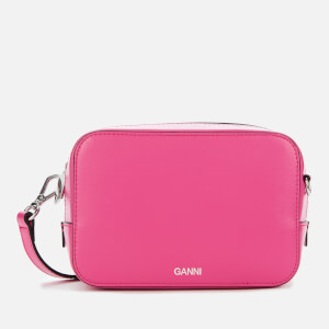 Ganni Women's Textured Leather Camera Bag - Shocking Pink